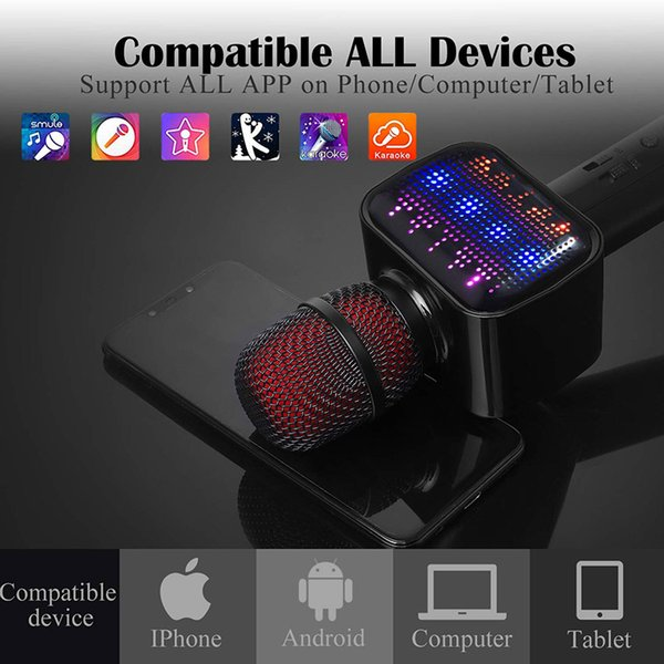 Latest Bluetooth Karaoke Microphone, Speaker, Player, Recorder, Voice  Changer 4 IN 1 Wireless Mic With Dynamic LED Li Microphone Cover Foam  Microphone
