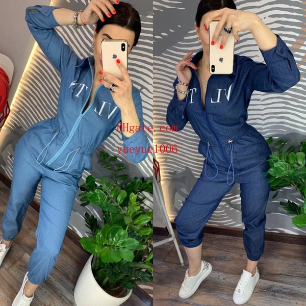 top popular Women Jumpsuits Rompers spring New Fashion Women Long Sleeve Jeans Jumpsuit Handsome With Rompers Full length Overalls 2019
