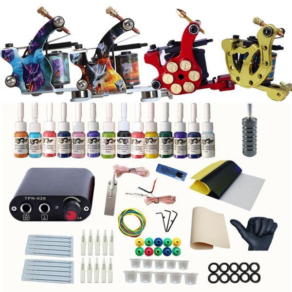 Tattoo Kit Complete Set Tattoo Machine Gun Inks Pigment Upgrade Mini Power Supply Tattoo Kits and Accessories