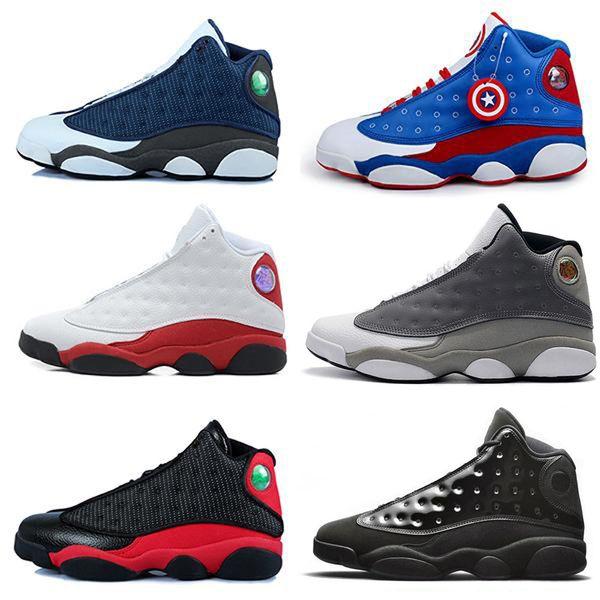 새로운 13 13s 남자 여자 농구 신발 블랙 적외선 고양이 갈색 파란색 흰색 시카고 회색 모자 및 가운 스포츠 스 니 커 즈 부싯돌