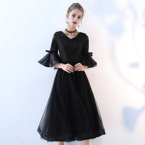 New black mid calf half sleeve sweat lady girl women princess bridesmaid banquet performance dancing party dress