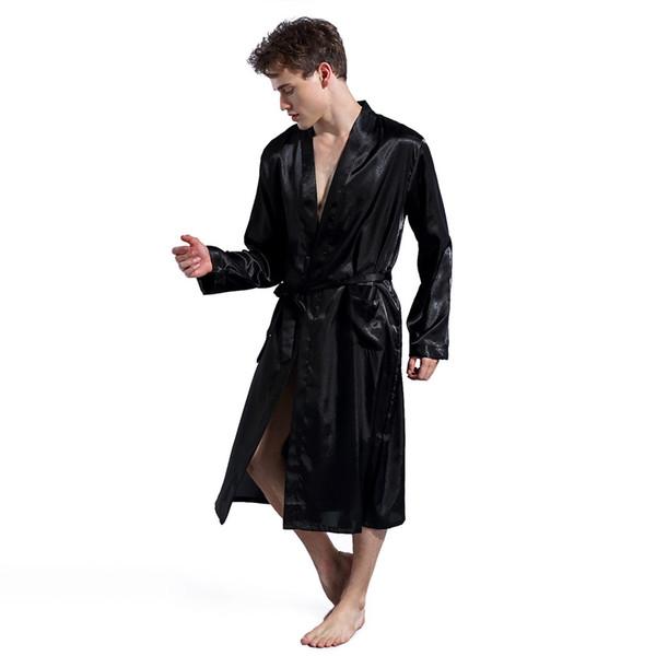 MUQGEW men summer bathrobe pajamas for men Summer Simulation Silk Long Section Long Sleeves Home Service Thin Men's Pajamas#G4