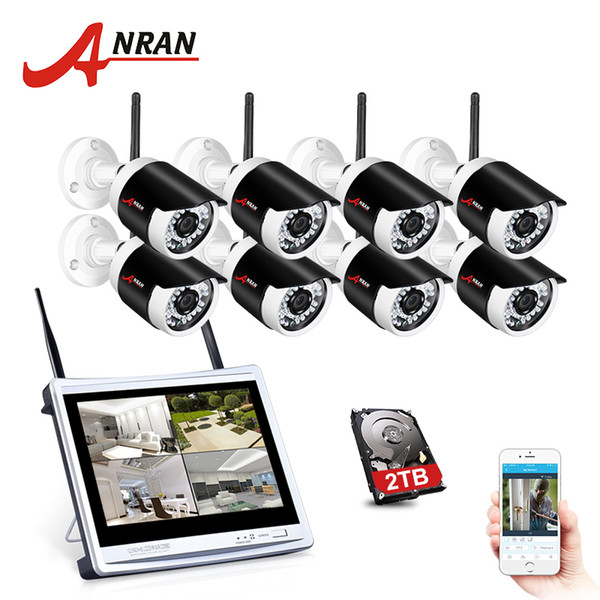 ANRAN 2MP Wireless Home Security Camera 1080P 2.0MP Waterproof NightVision CCTV Camera System With 12 Inch LCD Monitor Screen