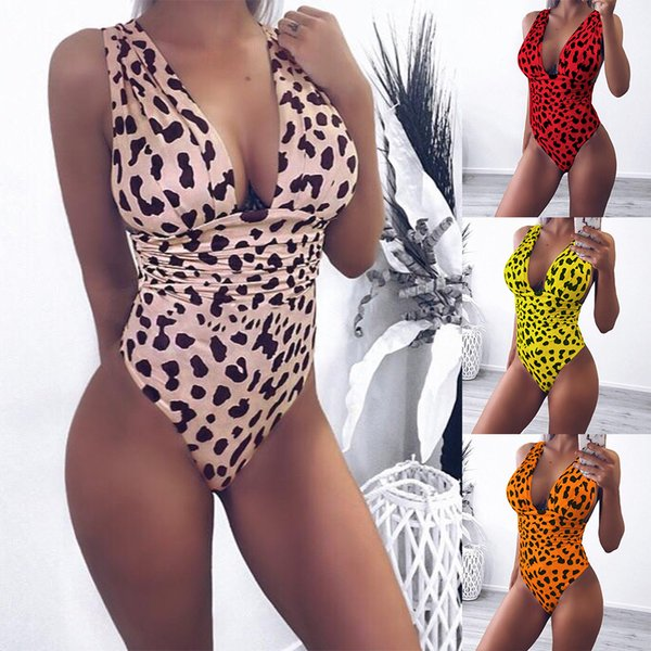 Women's Sexy Deep V-neck Swimwear Summer Leopard Print Backless One Piece Swimsuit Bodysuits Teddies Beach Wear