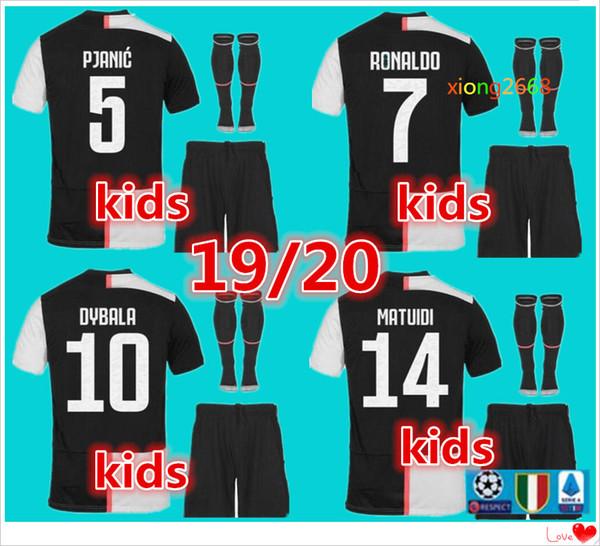 Maillot de fútbol para niños RONALDO 2020 19/20 DYBALA JUVE EA SPORTS kit para niños Maillot de foot Bernardeschi