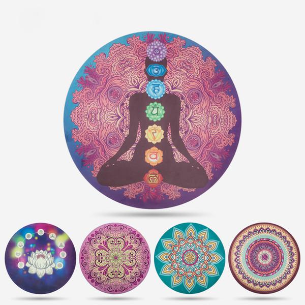 1.5m de diámetro 1.5mm de grosor Esterilla de yoga redonda Meditación Caucho natural Ecológico Estera de yoga antideslizante Gimnasio Gimnasio Goma