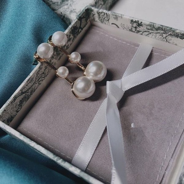 Vintage Classic Designer Copper Three Round White Pearl Charm Drop Earrings For Women Jewelry