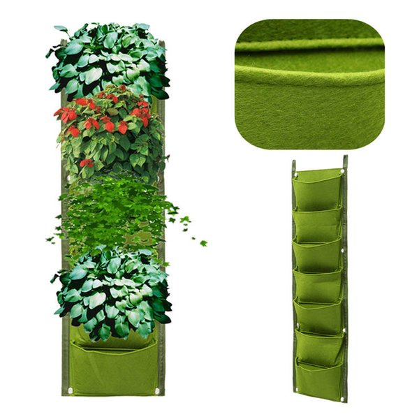 1*0.3m 7pockets Non-Woven Fabric Flower Pots with Handles Bag for Seeds Growing Grow Tent Garden Decor Greenhouse Fairy Garden Miniatures