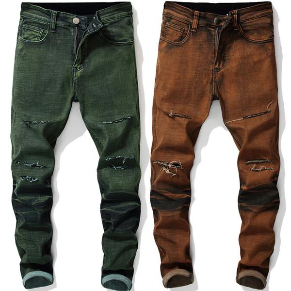 Moda Uomo Jeans Stretch Sciolto Personalità Lavato Micro-bombe Old Straight Verde scuro Fold Skinny Biker Denim Pants