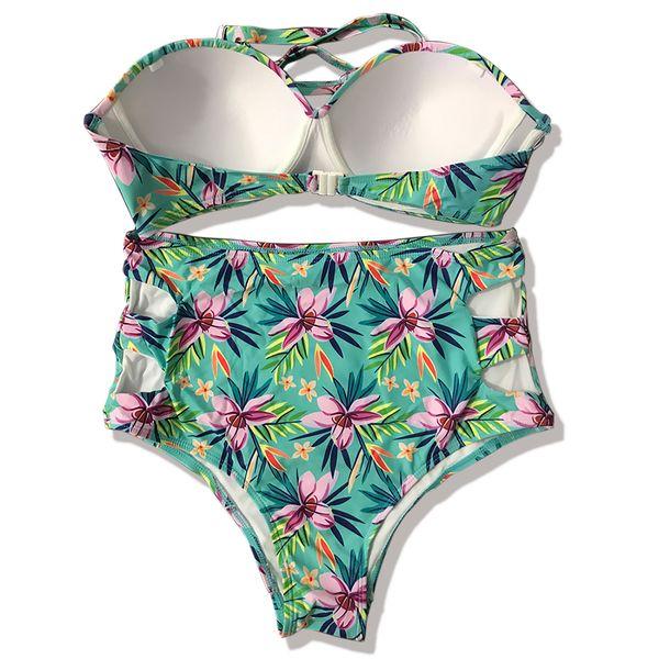 Maillots de bain adultes bandage dos nu imprimé floral rembourré soutien-gorge taille haute maillot de bain plage mode Bikini ensemble fil cadeau de bain gratuit