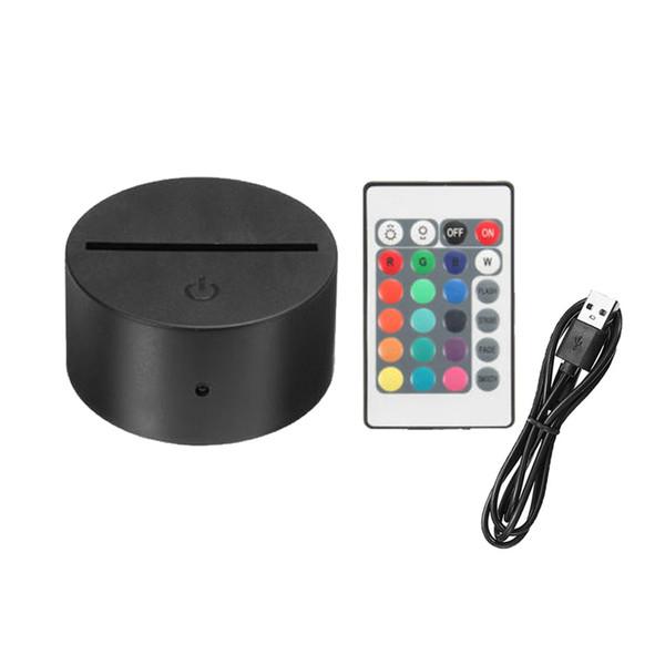 RGB 7 colori Luci base della lampada LED per Illusion 3D della lampada 4 millimetri acrilico del pannello di batteria Luce o DC 5V notti USB 3D luci