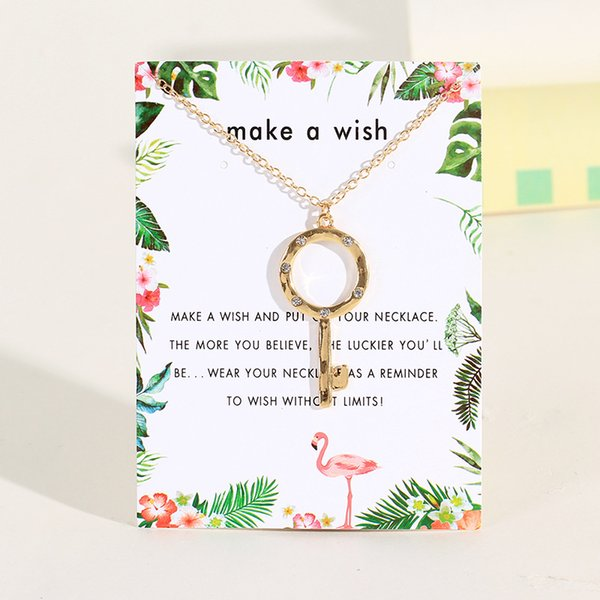 Creative Diamond Key Pendant Women Luxury Necklace Ladies Adjustable Clavicle Chain with Wish Card for Wedding Party-A067