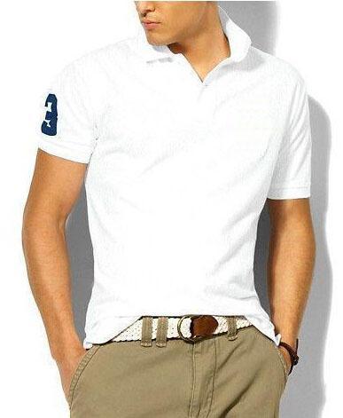Amerikanischen Design Männer Solide Polos Große Pony Stickerei Sommer Kurzarm Kragen Klassische Polo Shirts Tees Weiß Schwarz Marineblau S-XXL