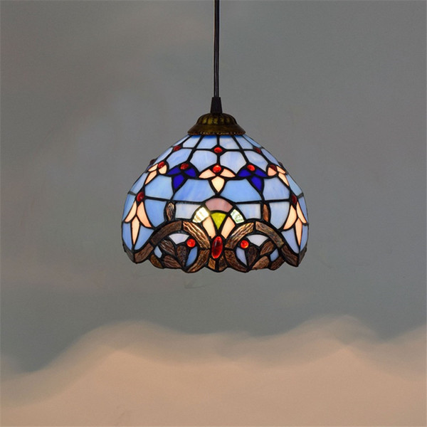 top popular Tiffany stained glass pendant lights living room dining room bedroom bar aisle blue glass chandelier TF003 2021