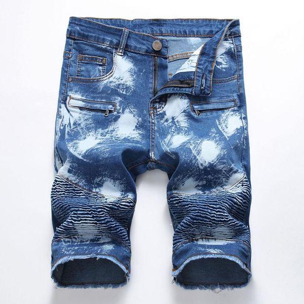 Summer Fashion Designer Men Denim Shorts Zipper Men Jeans Hip Hop Elastic Pants Plus Size 28-42
