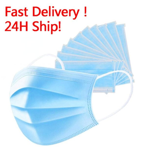 top popular 24 hours Ship! Disposable Face Mask 3 Layers Dustproof face Mask Facial Protective Cover Masks Set Anti-Dust Mask DHL Shipping 2020