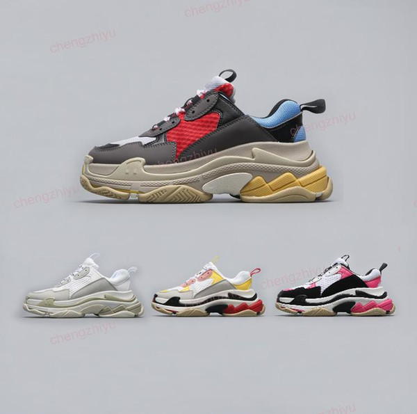 2018 Best Luxury Triple-S Designer Low Sneakers Thick Soles Speed ​​Boots diseñador Hombres Mujeres Runner Shoes Custom Brand Sports Casual Shoes