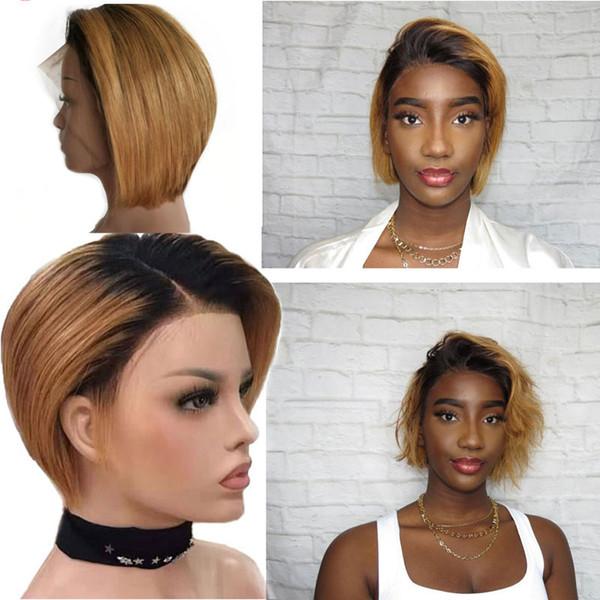 Pelucas cortas de corte de duendecillo Pelo remy brasileño Ombre Peluca de cabello 130% de densidad Peluca delantera de encaje 1B / 30 para mujeres