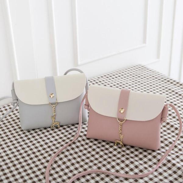 Nuovo design creativo alce portachiavi cucitura donne ragazze sacchetti a tracolla bambini ragazza moneta pu crossbody mini telefono Bag