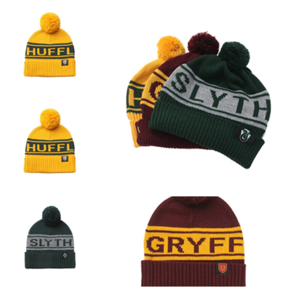 Nuevo Harry Potter Beanie Hat Gryffindor Slytherin Hufflepuff Cap Knit Hat Cosplay Carta de la escuela Warm Knitted capT2C5069