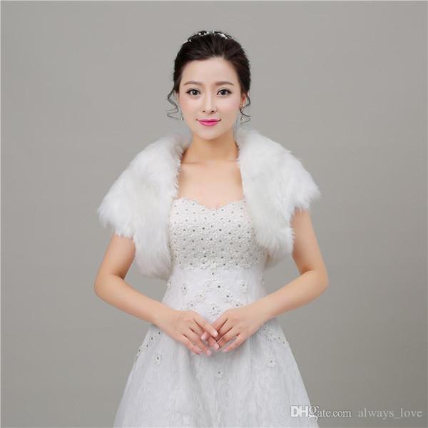 2019 Beautiful Winter Faux Fur Bridal Wedding Wrap Cape Shawl Jackets Coat Bolero Tippet Stole for Wedding Party PJ020
