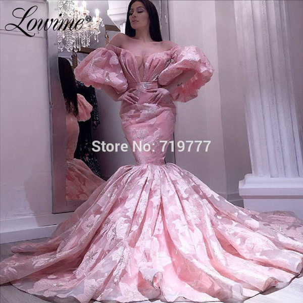 Luxury Pink Evening Dresses Couture Dubai Off The Shoulder Prom Dress Mermaid Long Party Gowns For Wedding Robe De Soiree 2019
