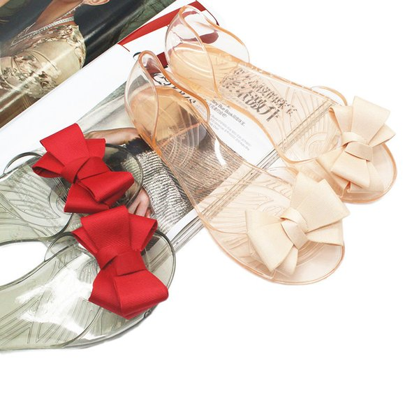 Casual Women Crystal Fish Mouth Beach Shoes Fashion Bow Knot Jelly Sandals Flat Heel Non Slip Pool Party Vacation Sandals