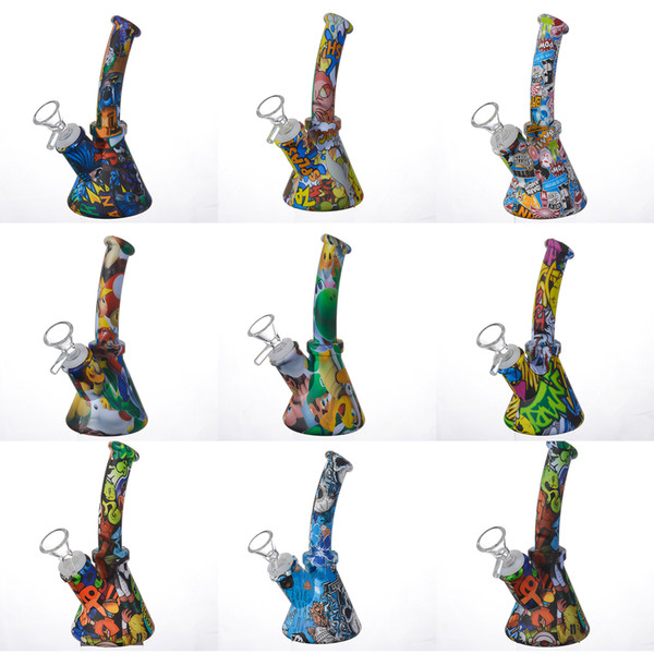top popular Silicone Bong 6.4 Inch Beaker Base Water Pipes cartoon printing 14mm female unbreakable bongs Silicone Downstem & Glass Bowl 2021