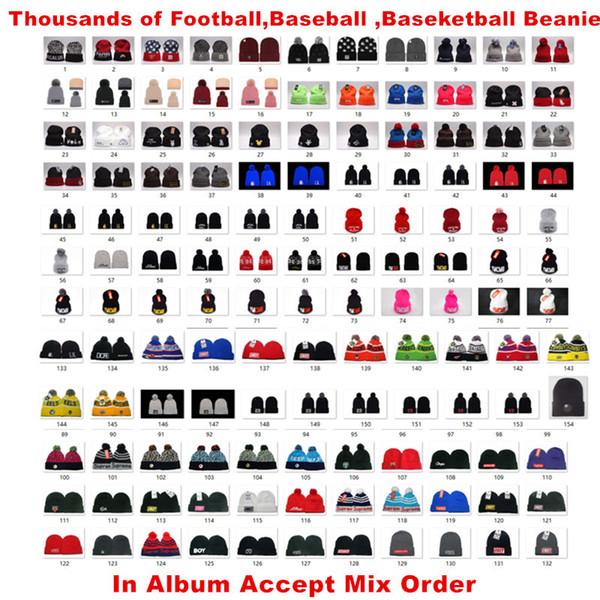 Venta al por mayor 32Team Cap Beanie Hat con Pom Sombreros Gorras Sport Knit Beanie USA Fútbol Winter Hat Más de 5000+ Aceptar orden de mezcla