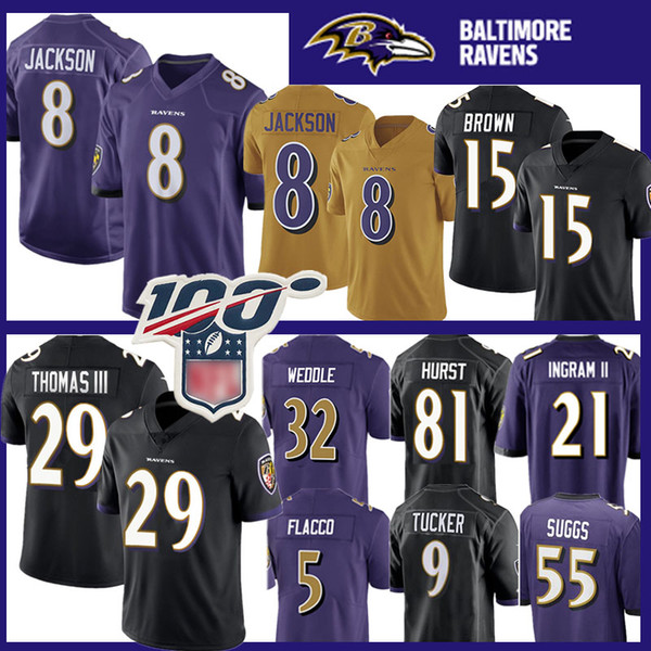 Baltimores 8 Lamar Jackson Raven Jersey 29 Earl Thomas 15 Marquise Brown 9 Justin Tucker 55 Terrell Suggs 22 Mark Ingram II 81 Hayden Hurst