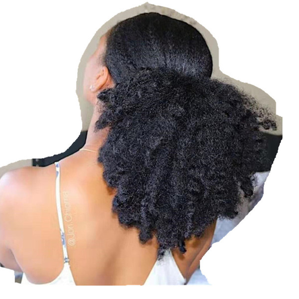 100 Human 4c Afro Kinky Curly Hair Pony Tail Clip In Drawstring Afro Hairpiece Updo Big Curly Natural Hair Puff 140g Hairstyles In Ponytail
