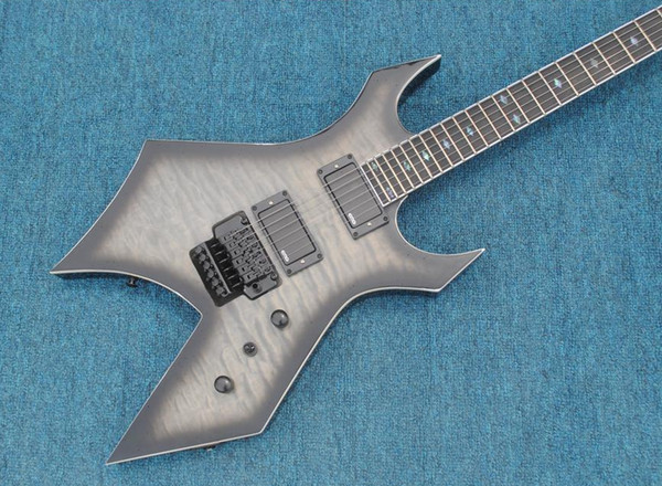 Rare 24 Frets Rich Warlock Grey Black Edge Quilted Maple Top Electric Guitar Floyd Rose Tremolo, EMG Active Pickup 9V Battery, Abalone Inlay