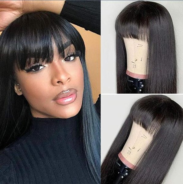 Celebrity Wig Bang Lace Front Wig Silky Straight Natural Color 10A Chinese Virgin Remy Human Hair Full Lace Wigs for Black Women