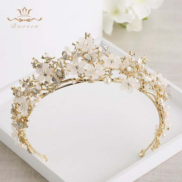 Bavoen Vintage Great Butterfly Bridals Tiaras Crowns Baroque Gold Brides Hairbands Wedding Hair accessories Prom Jewelry Gifts C18122501