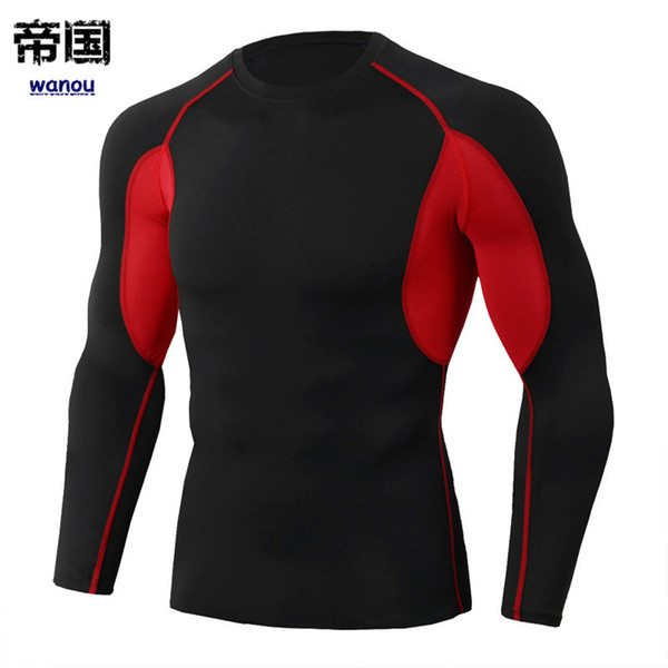 Sportswear Bodysuit Homens NOVO Preto Vermelho Longo Tee Fitness Sports Workout Correndo Basquete Magro Elastic Quick Dry Respirável Activewear
