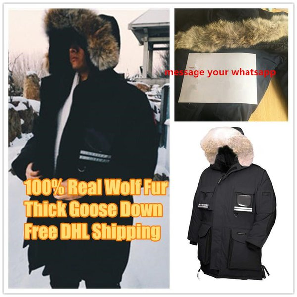 Canada New Arrival Sale Men's Snow Mantra Down Parkas Hoodie Black Navy Gray Jacket Winter Coat/Parka real wolf Fur Sale with Outlet
