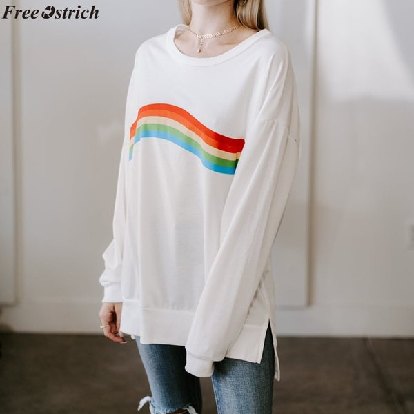 FREE OSTRICH women's slim O-neck long-sleeved T-shirt Ladies rainbow striped print daily casual white basic tops plus size
