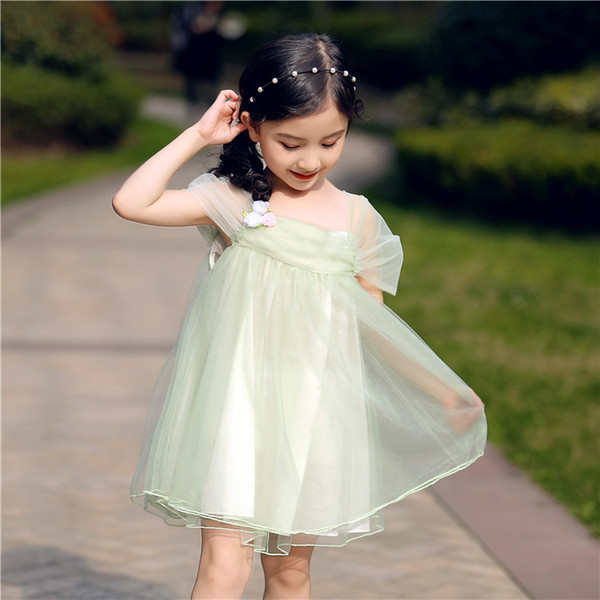 Summer Children pageant dresses girls stereo flower applique princess dress kids lace tulle dress girl backless birthday party dress F8238