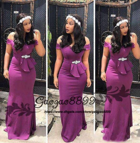 2019 Modest mermaid evening dresses elegant off the shoulder backless Nigerian crystal sash Peplum formal celebrity prom party gowns cheap
