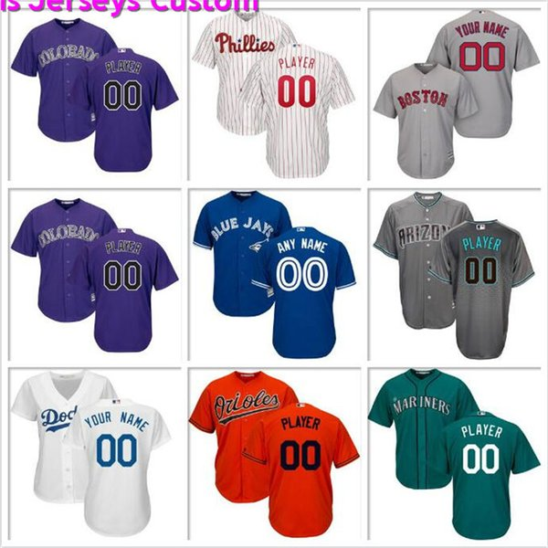 Custom Mens Baseball Jersey Philadelphia Phillies Seattle Mariners Texas Rangers San Francisco Giants Indians Official cool base jerseys sew