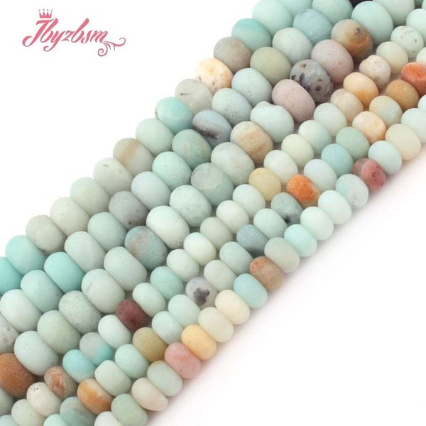 """3x6mm 4x8mm Matte Frosted Mutil-Color Amazonite Stone Rondelle Spacer Beads for DIY Bracelet Jewelry Making 15""""Free Shipping"""