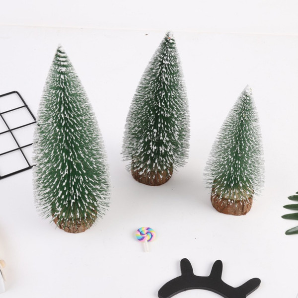 tablechristmas tree miniature pine frosted with colorful led design trees with wood base crafts home decor ornaments