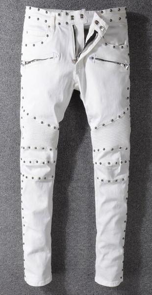 BA L MAIN primavera y otoño, tendencia europea y estadounidense, estilo punk, remache, jeans, pantalones blancos, delgados para hombre, locomotoras.