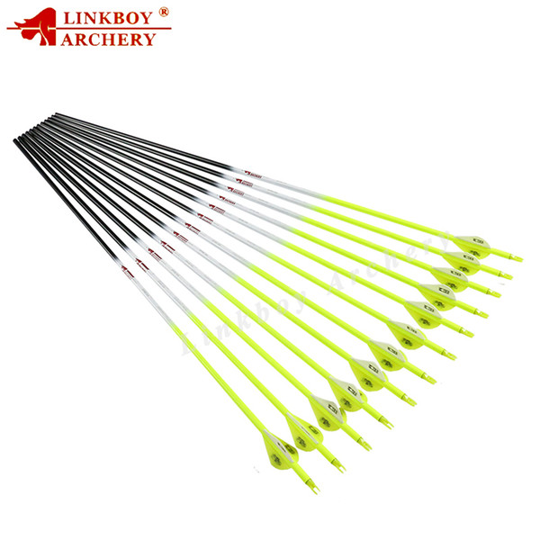 Linkboy Archery 12Pcs New Archery Fluorescent Yellow Carbon Arrows Spine 300 340 400 500 600 for Compound Bow Hunting