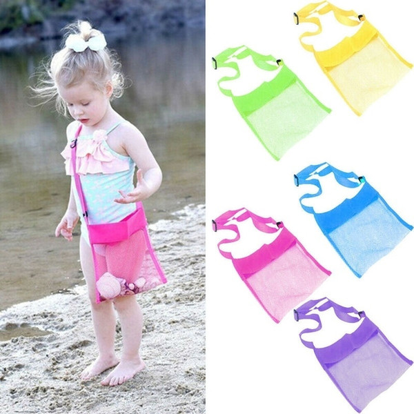 best selling 5 Colors Bag Beach Mesh Bag Pouch Kids Children Fun Toys Sea Shell Storage shoulder Bag Beach Fun