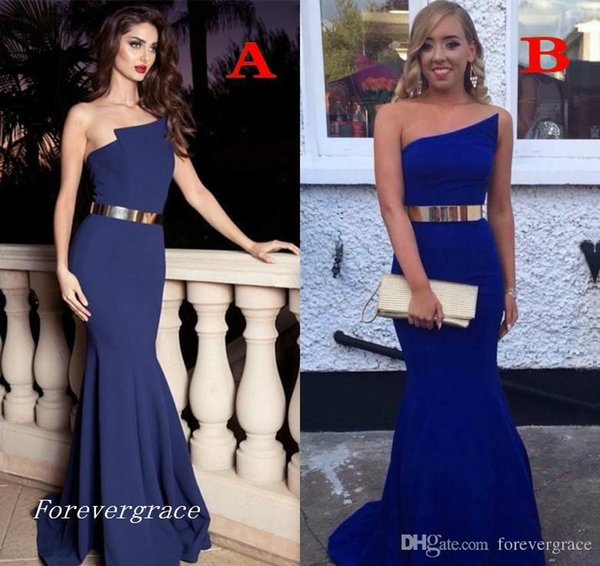 2019 Sexy Royal Blue Mermaid Evening Dress Simple Long with Golden Belt Dubai African Formal Holiday Wear Party Gown Custom Made Plus Size