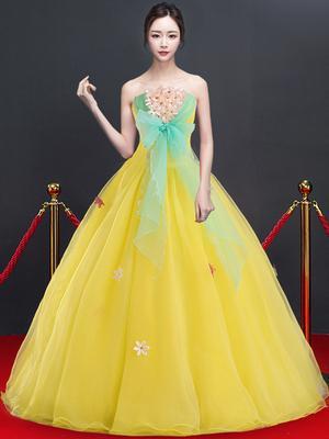 Freeship jaune fleurs bowknot robe de bal robe médiévale renaissance robe reine victorienne / Marie / Belle balle / scène / robe de bal