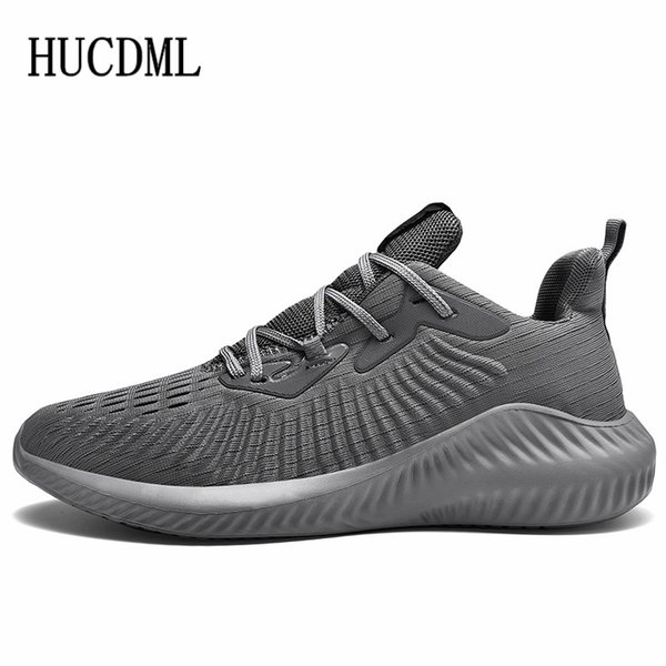 hucdml brand 2019 new lycra mesh breathable men's casual shoes lace up light sneakers tenis masculino adulto big size 39-47, Black