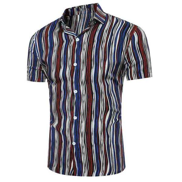 Fashion 2017 Summer wear men's leisure short sleeve shirts Black and white slim fit striped shirt thin camisa masculina shirts