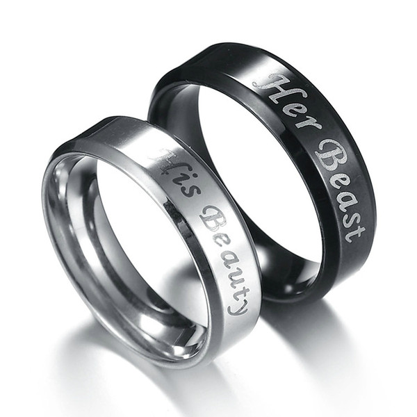 Top Quality Couple Rings Stainless Steel 6mm Fashion Black/Silver Color Ring for Men's and Women Wedding Engagement Jewelry Gift